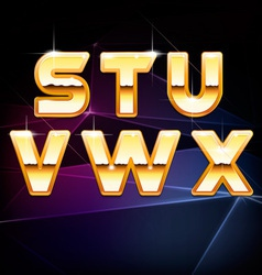 Golden shiny alphabet form s to x vector