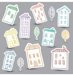 Houses doodles on white background vector
