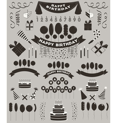 Set of birthday elements and objects vector