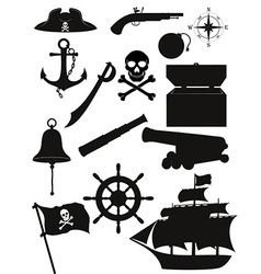 set of pirate icons 02 vector image