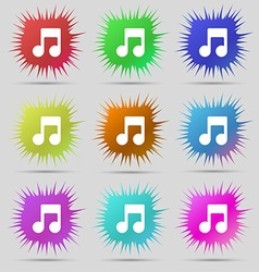 Music note icon sign a set of nine original needle vector