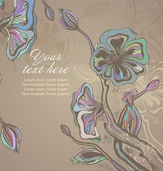 card with graphic stylized cherry blossom vector image