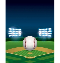 Baseball field with lights vector
