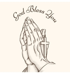 Prayer hand with cross vector