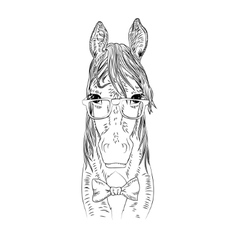 Hipster horse vector image