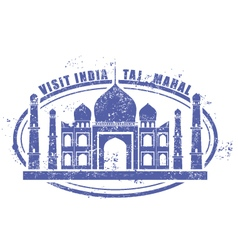 Stamp with taj mahal palace - visit india vector