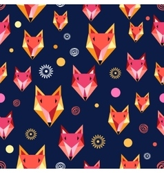 Seamless pattern with fox portrait vector image