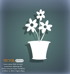 Vase of flowers icon on the blue-green abstract vector