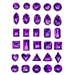 Set of realistic purple amethyst jewels vector