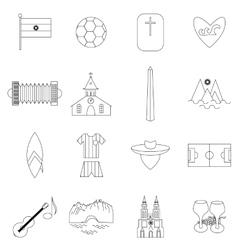 Argentina outline icons vector