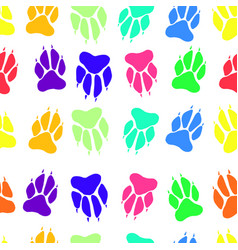 bright multicolored paw print dog imprint seamless vector image
