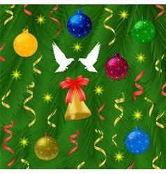 Christmas ball with pine tree and bells vector image vector image