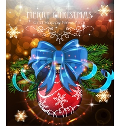 Christmas tree branches with blue bow and red vector