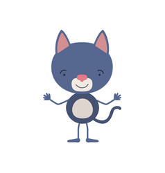 Colorful caricature of cute cat tranquility vector