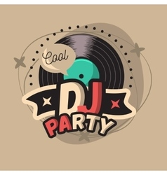 Dj cool party poster design with vinyl record vector