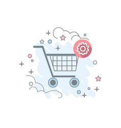 flat basket icon vector image vector image