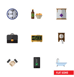 Flat icon lifestyle set of tub electric alarm vector