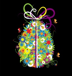 floral Easter egg on black vector image vector image