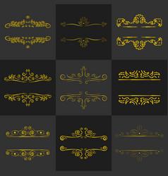golden vintage frame decoration set vector image vector image
