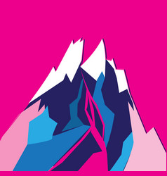 Graphic bright colored mountain vector
