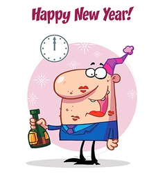 Happy Man Celebrating Happy New Year vector image vector image