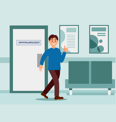 happy man coming out from office of vector image