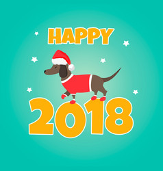 holiday dachshund perfect for the year of dog vector image