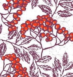 Ink hand drawn rowan seamless pattern vector image