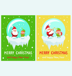 merry christmas and happy time vector image vector image