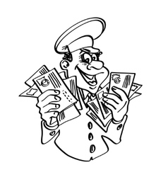 Postman with letters in hand contour drawing vector