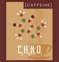 Retro poster of caffeine molecule vector