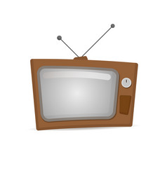 retro tv in the wooden case vector image vector image