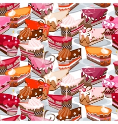 Seamless background made of cake slices vector image vector image