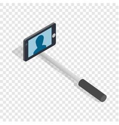 Selfie monopod stick isometric icon vector