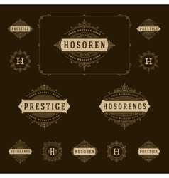 Set Luxury Logos template flourishes calligraphic vector image vector image