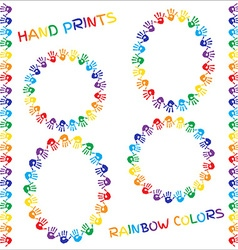 Set of frames and borders hand prints in rainbow vector
