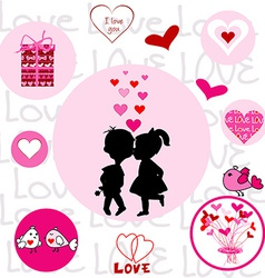 Set of round frames with Valentine elements vector image vector image