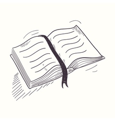 Sketched open book desktop icon vector