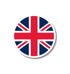 united kingdom rounded flag button with dropped sh vector image vector image