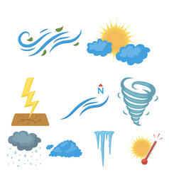 Weather set icons in cartoon style big collection vector