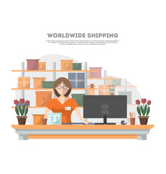 worldwide shipping poster with delivery terminal vector image vector image