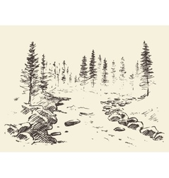 Hand drawn landscape river forest vintage vector