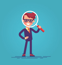 cartoon character - manager with loupe vector image