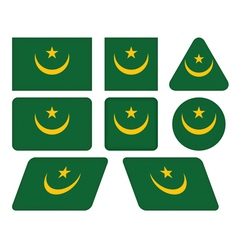 buttons with flag of Mauritania vector image