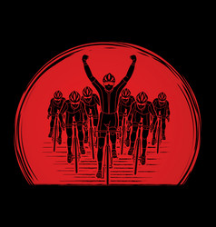 the winner with group of biking sport men team vector image
