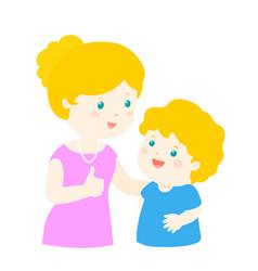 Mother admire son character cartoon xa vector