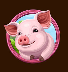 Pig icon with frame vector