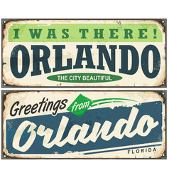 greetings from orlando florida vintage signboard vector image