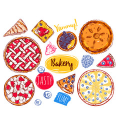 Hand drawn pie slice cake icon set vector