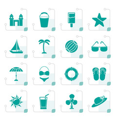 Stylized beach sea and holiday icons vector